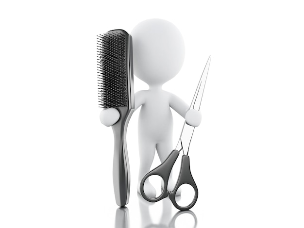 Parrucchiere 3d con spazzola per capelli e forbici.