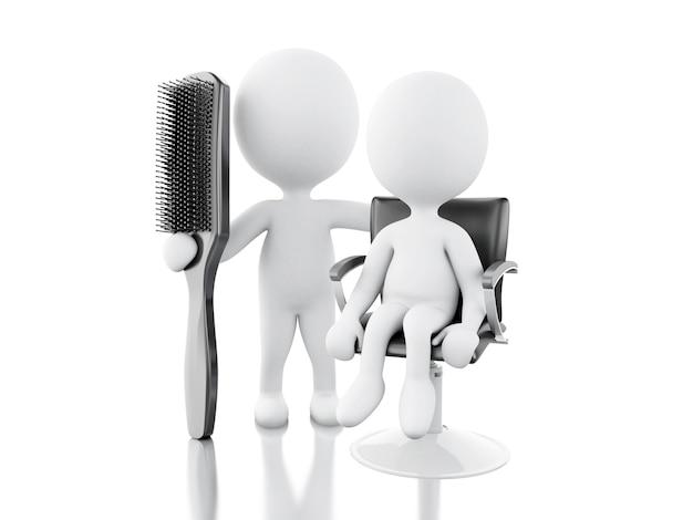 Parrucchiere 3d con spazzola per capelli.