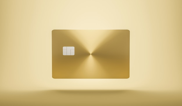 Parte anteriore del credito o delle smart card con il chip emv sul concetto dorato di affari di commercio elettronico del walland. modello di biglietti da visita. rendering 3d.