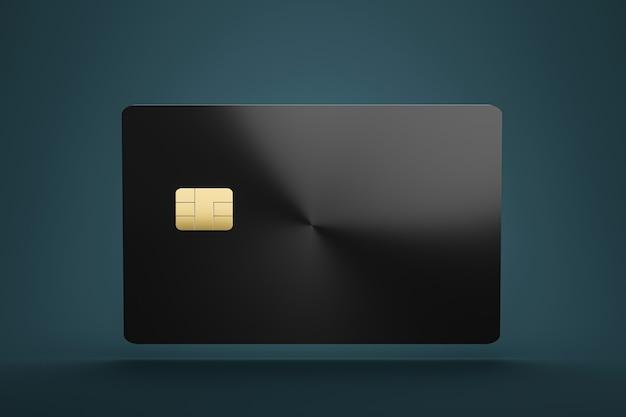 Parte anteriore di credito o di smart card con il chip emv sul concetto di lusso di affari di commercio elettronico del walland. modello di biglietti da visita. rendering 3d.