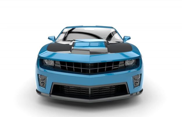 Parte anteriore di un'auto sportiva blu