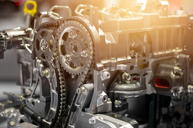 Parte del motore dell'automobile, concetto del motore moderno del veicolo e dettagli della parte del motore dell'automobile del metallo del taglio