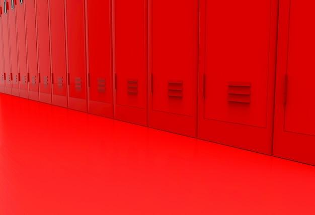 Parte inferiore degli armadietti di metallo rosso sullo sfondo del pavimento.