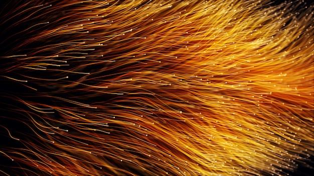 Particelle arancioni astratte dell'illustrazione della fibra ottica 3d
