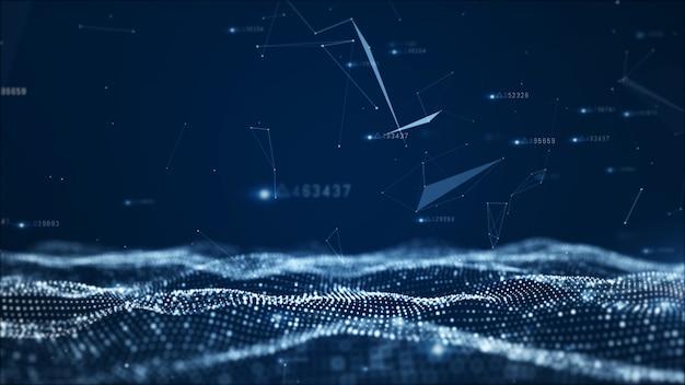 Particelle astratte digitali e sfondo dati di rete