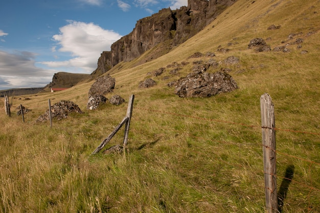 Pascolo sulla montagna di ghiaione con affioramento roccioso e recinto di filo spinato