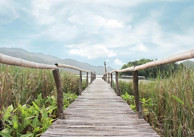 Passaggio pedonale di bambù del ponte al lago sul campo verde