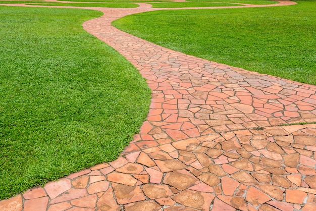 Passaggio pedonale di pietra arancio con erba verde in parco. sfondo astratto