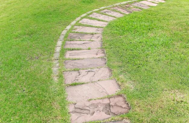 Passaggio pedonale di pietra nel parco con sfondo verde erba