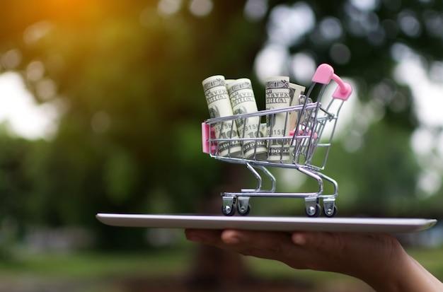 Passi il dollaro dei soldi della tenuta sul carrello con il pagamento della compressa per l'affare che compera online.