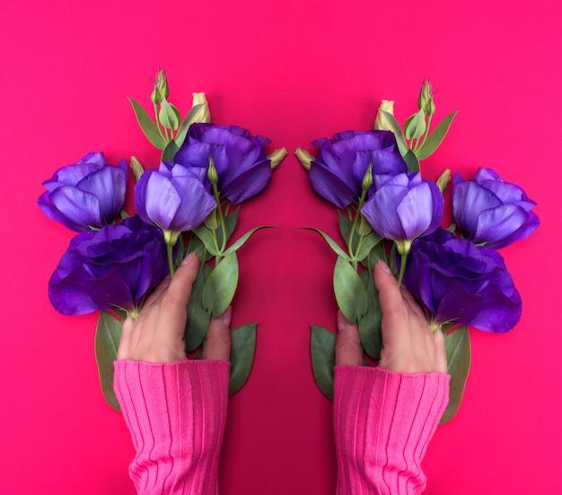 Passi in un maglione rosa che tiene un ramo di un fiore blu