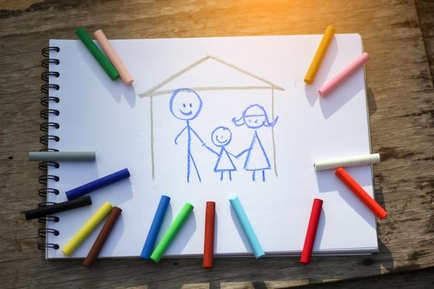 Pastello di stile del kiddie che disegna famiglia felice