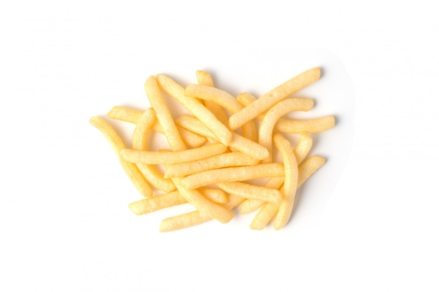Patate fritte o frittura di patate isolata su fondo bianco.
