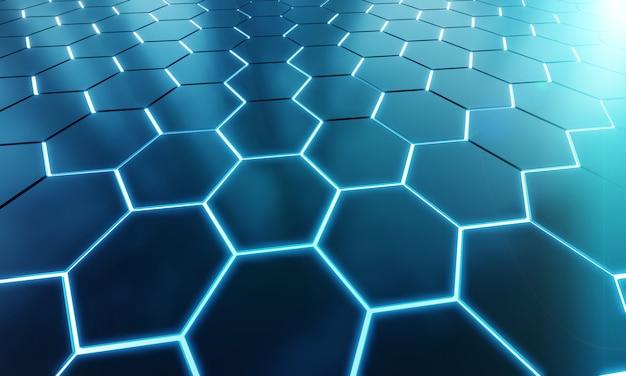 Pattern di sfondo esagoni nero e blu incandescente sulla superficie di metallo argento