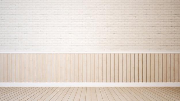 Pavimento di legno e del muro di mattoni per materiale illustrativo - rappresentazione 3d