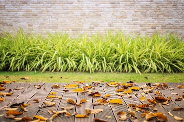 Pavimento di legno vuoto con erba verde