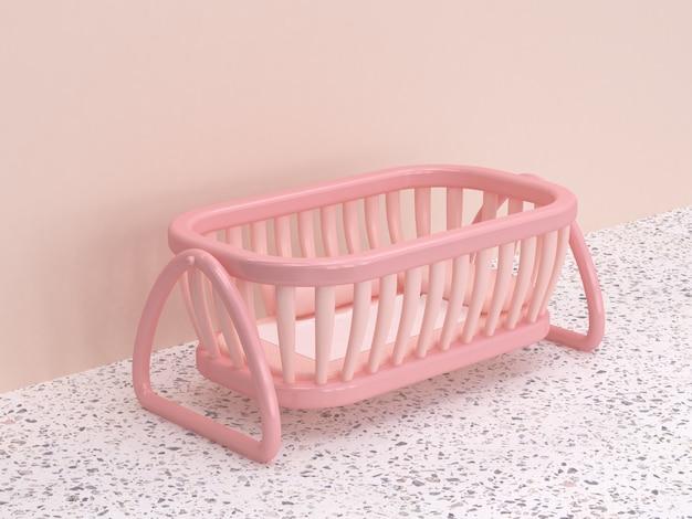 Pavimento in marmo parete rosa stile cartoon culla per neonati
