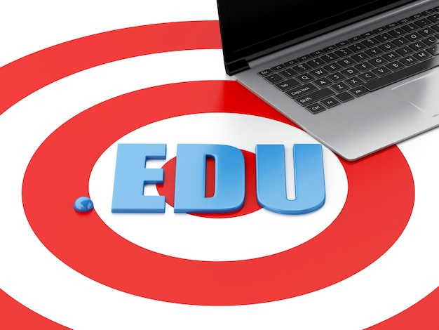 Pc del computer portatile 3d ed edu di parola sull'obiettivo