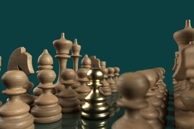 Pedone di leadership in oro 3d sulla scacchiera