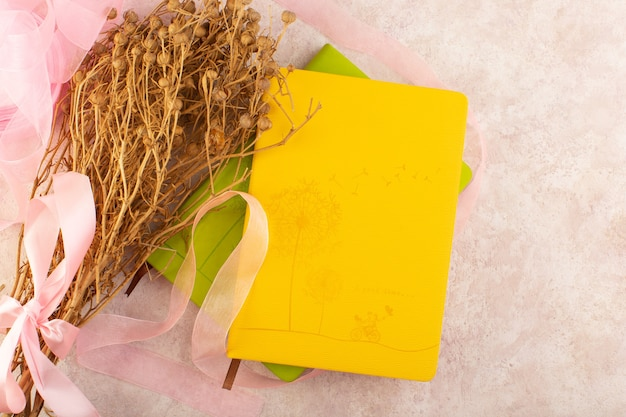 Peganum harmala pianta essiccata e con fiocco rosa e quaderno sulla foto a colori della pianta da tavola rosa
