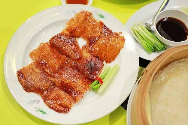 Pelle d'anatra arrosto cinese, anatra alla pechinese.