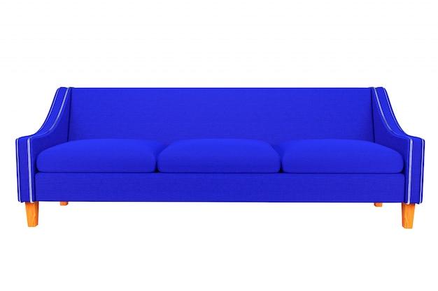 Pelle di tessuto blu divano e sedia isolata