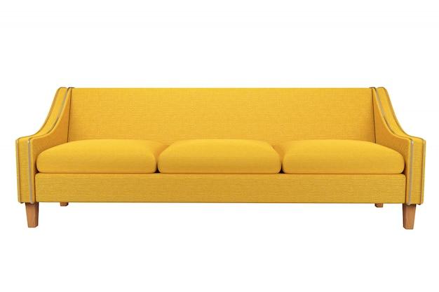 Pelle gialla del tessuto del sofà e della sedia isolata