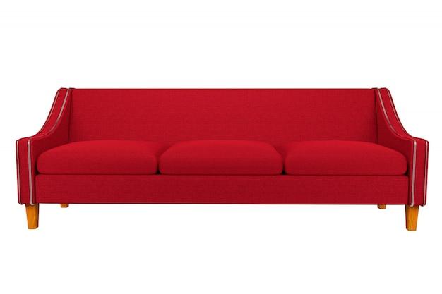 Pelle rossa del tessuto della sedia e del sofà isolata