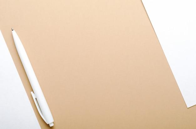 Penna bianca su marrone e bianco
