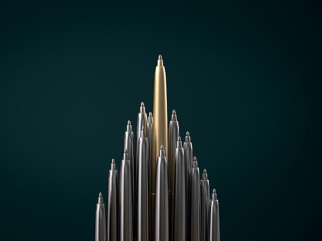 Penna d'oro in piedi fuori dalle penne cromate, in piedi fuori dal concetto di folla. rendering 3d