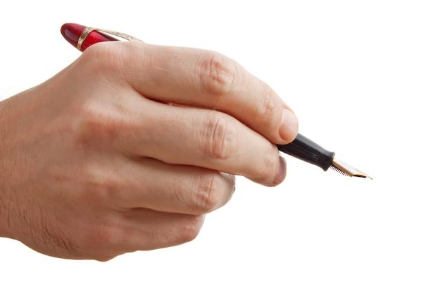 Penna in mano isolata