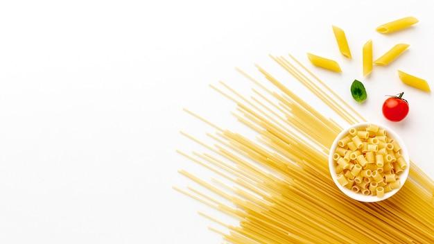 Penne e rigatoni di spaghetti crudi con spazio di copia