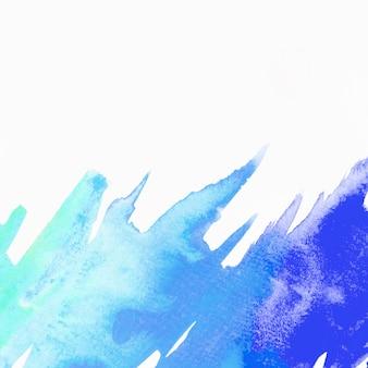 Pennellata di acquerello blu e verde isolato su sfondo bianco