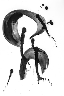 Pennellate astratte e schizzi di vernice su carta bianca