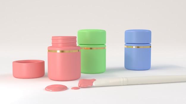Pennello bianco e bottiglie di colore rosa verde blu rendering 3d