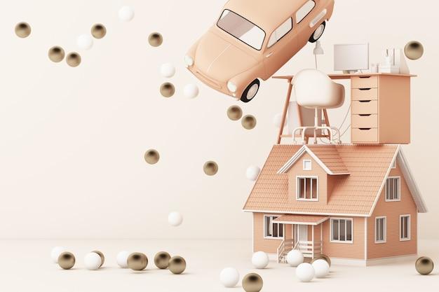 Pensando all'automobile domestica e al lavoro che circonda da molti oro e rappresentazione bianca della palla 3d