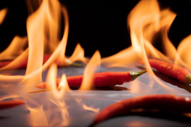 Peperoncino e fuoco caldo sulla fiamma del fuoco su sfondo nero