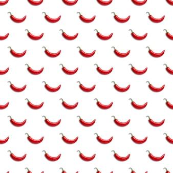 Peperoncino rosso seamless pattern su uno sfondo bianco