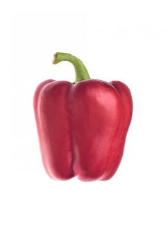 Peperone dolce rosso sopra bianco