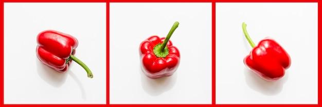 Peperone rosso in diverse posizioni