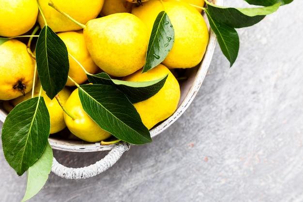 Pera gialla in cestino grigio in grigio. raccogliere. vista dall'alto. scatola piena di pere. copyspace.