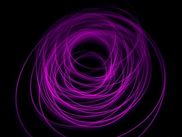 Percorso del sentiero delle onde luminose, colori vivaci al neon in turbinii astratti