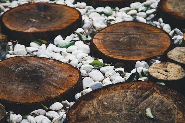 Percorso in giardino, prati verdi con percorsi di pavimento in legno, progettazione del paesaggio del giardino