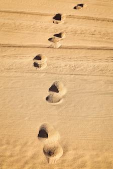Percorso orme nella sabbia di una spiaggia