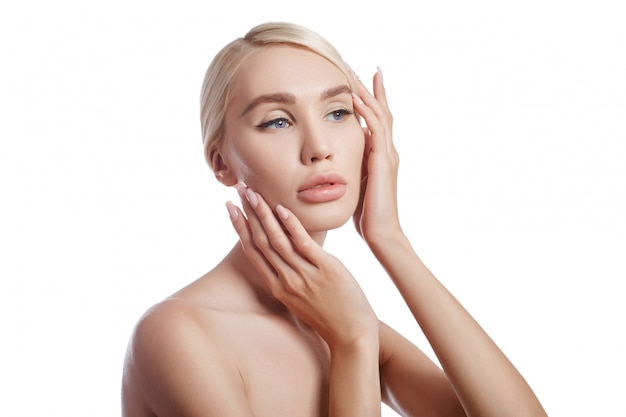 Perfetta donna della pelle pulita, cosmetica per le rughe