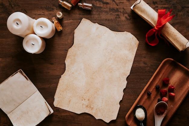Pergamena vicino a candele e ingredienti