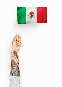 Persona che sventola la bandiera degli stati uniti messicani