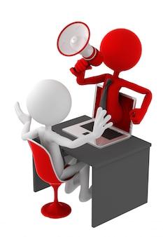 Persona con icona megafono che esce schermo del computer portatile.