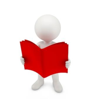 Persona con un libro rosso aperto