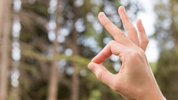 Persona di primo piano che insegna come comunicare attraverso la lingua dei segni